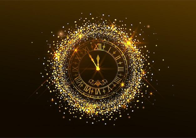 Medianoche año nuevo. reloj con números romanos y confeti dorado sobre oscuro