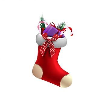 Medias rojas de navidad con regalos dentro aislado