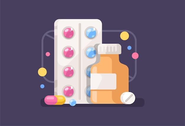 Medicamento. medicina, pastillas, drogas, plantilla de concepto.