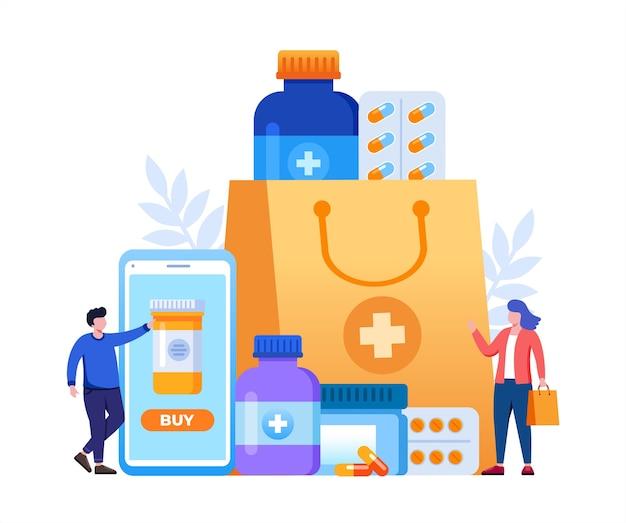 Los medicamentos de farmacia ordenan en línea con bolsa de compras y personas pequeñas