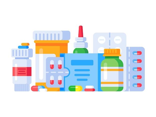 Medicamentos pastillas y botellas de drogas de farmacia, ilustración plana