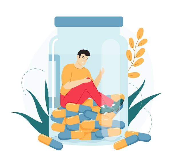 Medicina adicción a las drogas. personaje masculino deprimido y enfermo dentro de la botella de drogas, problemas de salud mental.