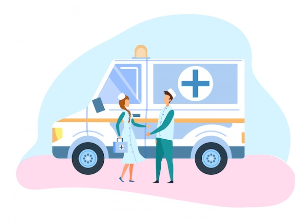 Medicina ambulancia coche y personal ilustración