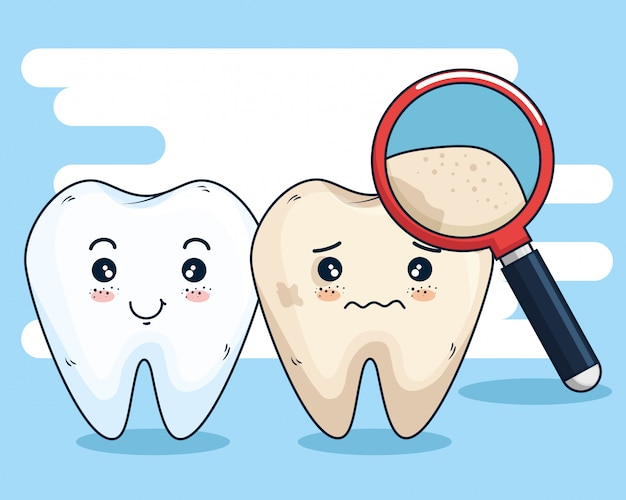 Medicina para el cuidado de los dientes y lupa