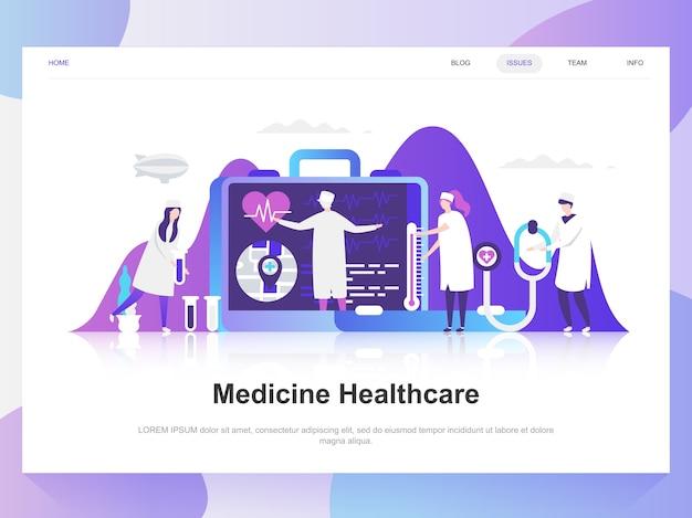 Medicina y cuidado de la salud moderno concepto de diseño plano.
