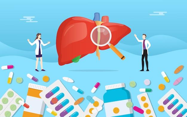 Medicina del hígado humano salud con pastillas medicamento cápsula tratamiento