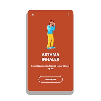 Medicina del inhalador para el asma con paciente mujer