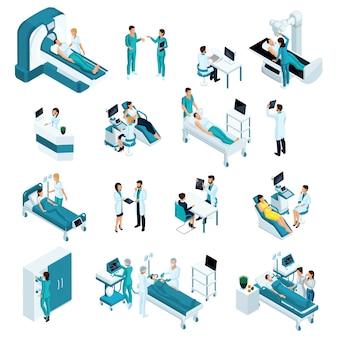 Medicina isométrica, personas de calidad. reanimación, médicos, trabajadores médicos. incluye mesa de operaciones, escáner de rayos x, máquina de anestesia y otros equipos.