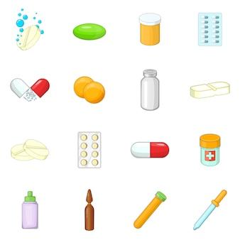 Medicina medicamentos conjunto de iconos
