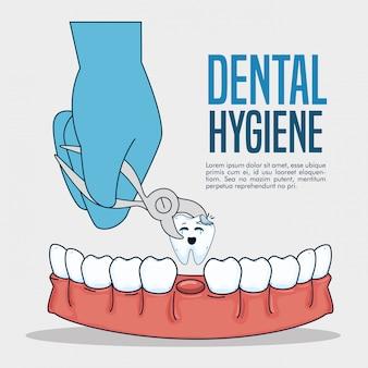 Medicina odontológica y diente con extractor dental