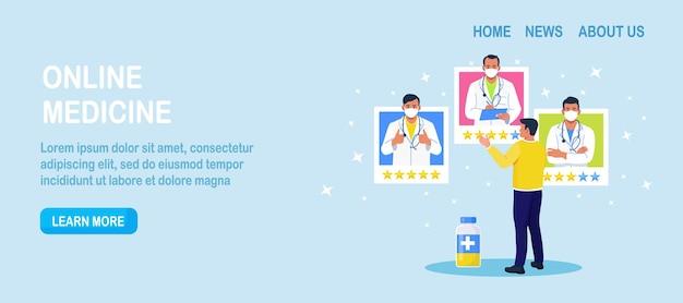 Medicina online, servicio de consulta virtual profesional. comentarios de los clientes. evaluación de clientes ranking de médicos. pacientes que analizan los mejores perfiles de médicos. hombre comparando evaluaciones de terapeutas