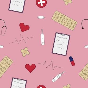 Medicina de patrones sin fisuras. tableta, píldoras, estetoscopio, yeso
