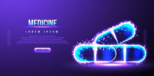 Medicina de píldora, farmacéutica médica, estructura metálica de baja poli