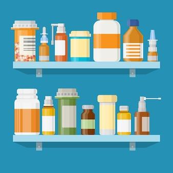 Medicina píldoras cápsulas botellas vitaminas y tabletas.