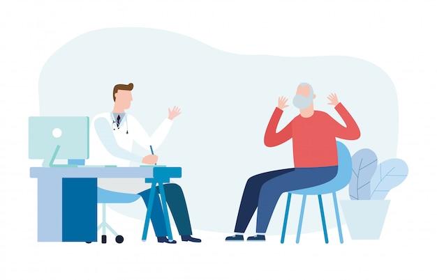 Medicina con psiquiatra médico y paciente anciano. médico practicante y paciente hombre senior en el consultorio médico del hospital. consulta y diagnóstico de salud mental. ilustración plana
