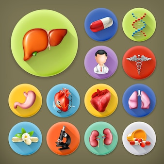 Medicina y salud, conjunto de iconos de larga sombra