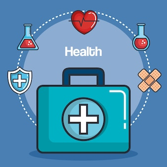 Medicina de salud establece iconos