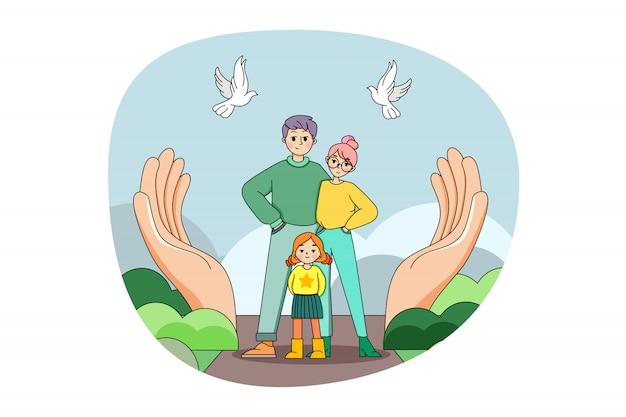 Medicina, salud, familia, seguro, concepto de protección.