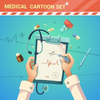 Medicina y tratamiento con el doctor escribiendo una caricatura de prescripción