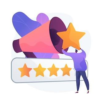 Medición de calificación de marca. clasificación de productos, herramienta smm, análisis de comentarios de los usuarios. experto en marketing digital analizando los índices de satisfacción de los clientes. ilustración de metáfora de concepto aislado de vector