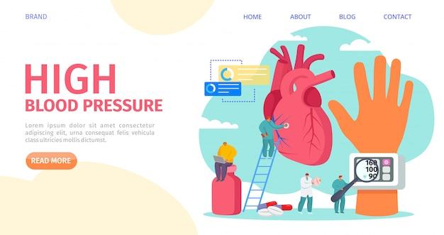 Medición de la presión arterial alta, ilustración de aterrizaje. enfermedad de cardiología, equipo médico tonómetro. doctor hipertensión