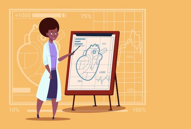 Médico afroamericano, médico cardiólogo, sobre un rotafolio con clínicas médicas del corazón hospital de trabajadores