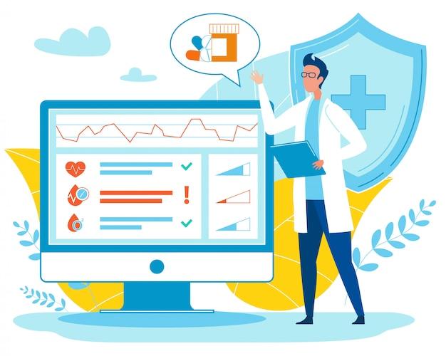 Médico analizando indicadores y prescribiendo píldoras.