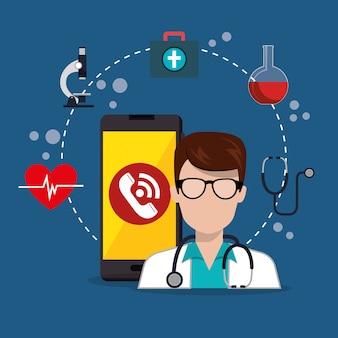 Médico con aplicación de servicios médicos para teléfonos inteligentes