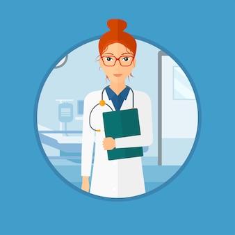 Médico con archivo en consultorio médico.