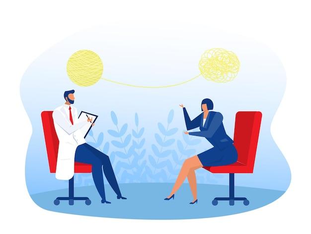 Médico asesorando a una ilustración del concepto de persona