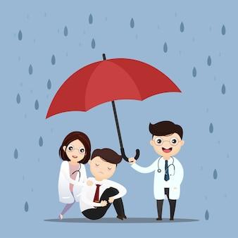 Médico de atención médica levantar un paraguas.