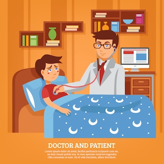 Médico atendiendo paciente casa plana ilustración