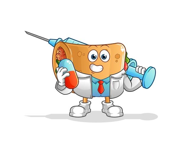Médico de burrito con medichine e inyección. personaje animado