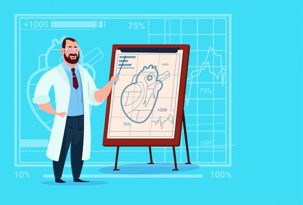 Médico cardiólogo sobre rotafolio con clínicas médicas del corazón hospital de trabajadores