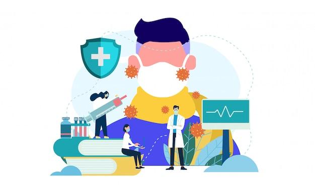 Médico cheque paciente masculino de virus