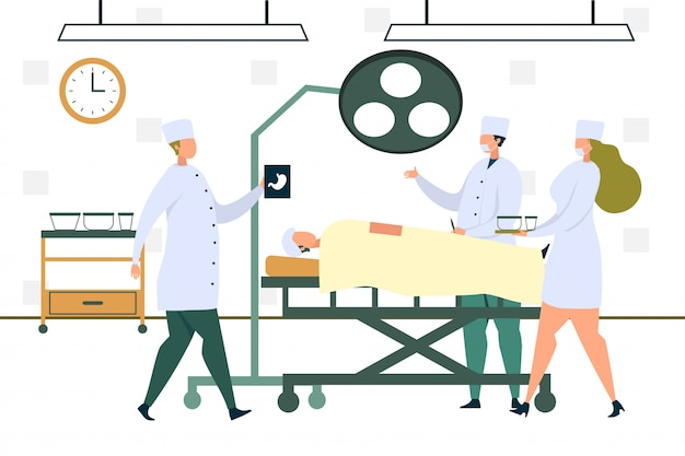 Médico cirujano en bata operadora de estómago del paciente