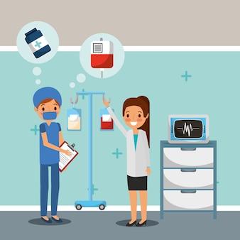 Médico cirujano y iv soporte de la velocidad de la máquina de sangre