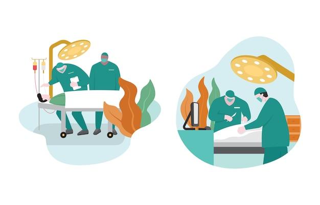 Médico cirujano realizando cirugía en paciente en quirófano ilustración de diseño plano