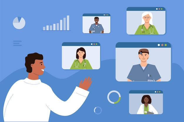 El médico se comunica con sus colegas en línea. videoconferencia médica, consulta y formación de empleados sanitarios.