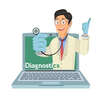 Médico con concepto de consulta médica en línea, servicios de salud