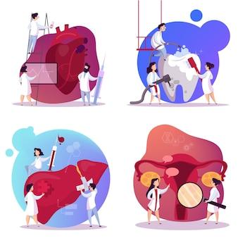 Médico y conjunto de órganos internos. anatomía humana