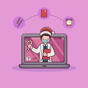 Médico de consulta en línea con concepto de médico en línea portátil