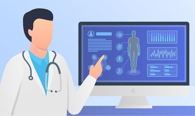 Médico dar análisis o explicación con informes médicos del cuerpo humano en la pantalla de la computadora