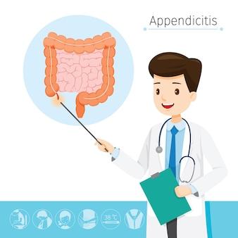 El médico describe la causa de la apendicitis