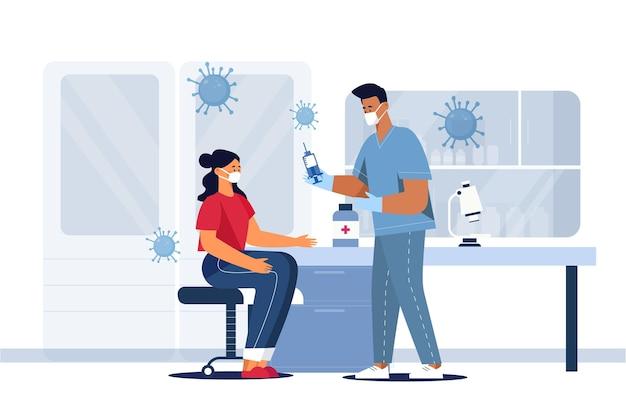 Médico dibujado a mano plana inyectando la vacuna a un paciente