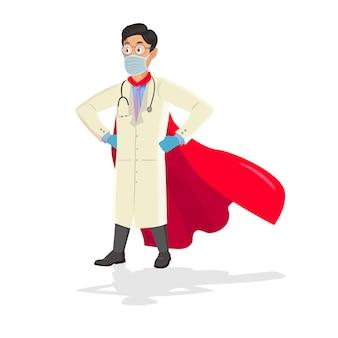Médico de dibujos animados con una capa de superhéroe.