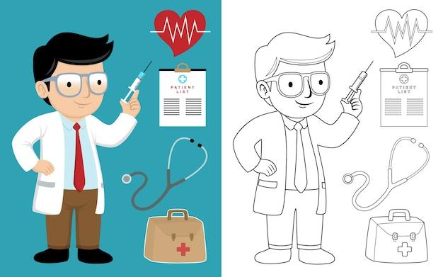 Médico de dibujos animados con jeringa con equipo médico