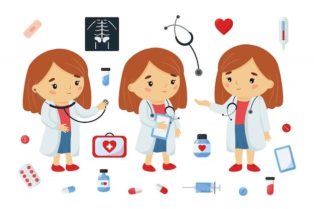 Médico de dibujos animados kawaii personaje con herramientas de medicina.
