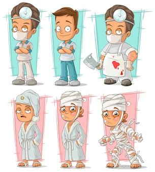 Médico de dibujos animados y personaje paciente