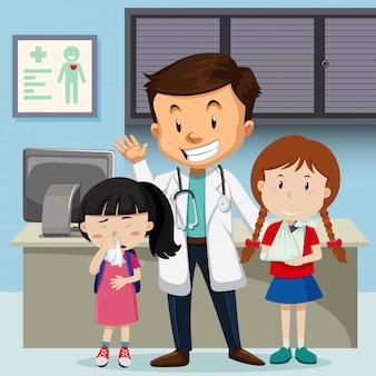Médico e hijos en el hospital.